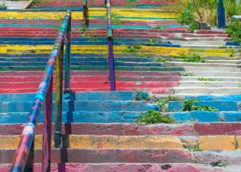 Colorful old staircase and traditional architecture in Stambul,